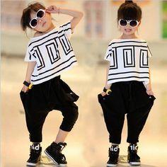 09589d632a0ec 2017 Summer Girls Children Suits Clothing Set costume T shirt + Haren pants  Fashion ensemble fille For 4 6 8 10 12 14 Years