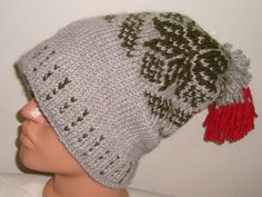 42f8bc144b6 Womens Mens Slouchy Beanie Hat in Olive Green Red by earflaphats