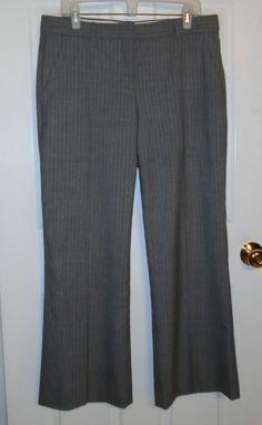 THEORY Light Gray Pinstripe Dress Pants Wool Career Office Size 12 #Theory #DressPants