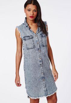 Missguided - Sleeveless Denim Shirt Dress Blue