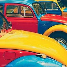 Want to discover art related to volkswagen? Check out inspiring examples of volkswagen artwork on DeviantArt, and get inspired by our community of talented artists. Vw Vintage, Vintage Colors, Blue Yellow, Red And Blue, Green, Auto Volkswagen, Images Esthétiques, World Of Color, Vw Beetles