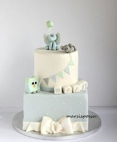 Marsispossu: Ristiäiskakku suloisilla eläinhahmoilla, Christening Cake for baby boy