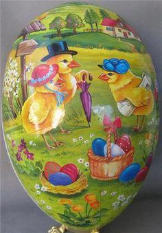Beautiful German Paper Mache Easter Egg Box Erzgebirge Germany 6 Inch | eBay