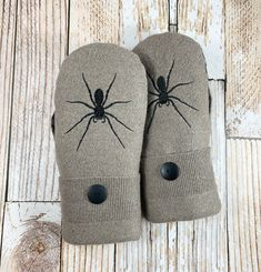 upcycled, felted wool and DOUBLE lined, taupe, brown, embroidered spider Sweater Mittens Super Warm upcycled felted wool and Sweater Mittens, Wool Sweaters, Felted Wool, Wool Felt, Embroidered Flowers, Softies, Hand Warmers, Wool Blend, Snug