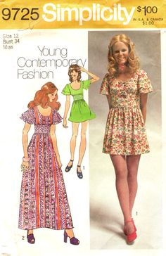 Simplicity 9725 MINI BOHO Young Contemporary by PatternPeddler (Craft Supplies & Tools, Patterns & Tutorials, Sewing & Needlecraft, Sewing, sewing pattern, dress, mini, maxi, flared sleeves, midriff, size 12, bust 34)