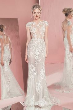 Zuhair Murad Spring 2016 lace embroidery white sheath wedding dress with cap sleeves.