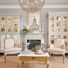 We love all the gorgeous texture in this sitting room. From the crystal chandelier to the 740 Painted Harbor china cabinets, complete with glass inserts, the results are stunning. Kitchen Cabinets, China Cabinets, Parisian Apartment, Painting Cabinets, Cabinet Doors, Living Spaces, New Homes, Cottage, Bookcases