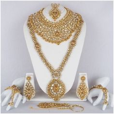 Bollywood-Indian-Bridal-Wear-Necklace-Earring-Silver-Tone-Fashion-Jewellery-Set