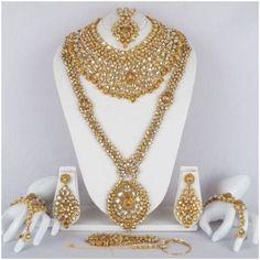 Bridal & Wedding Party Jewelry Trend Mark Green Golden Pearl Kundan 9pcs Bridal Necklace Set Reception Party Dance Wedding