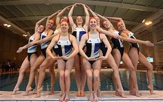 The GB Synchronised Swim Team show off their Olympic-standard kit Photo: 2012 Getty Images