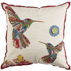 Beaded Birds Pillow