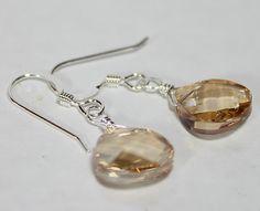 Champagne Teardrop Earrings Light Golden Brown cafe by bonitaj