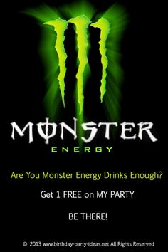 Monster Energy Drink For 14th boy birthday party #Monster Energy Drink #party #birthday #decoration #cakes #favors #themedbirthday #games #printable #quotes #invitation #sayings #birthdaypartyideas #bpartyideas