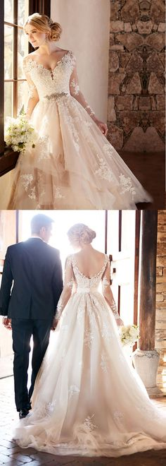 Marvelous Tulle V-neck Neckline A-line Wedding Dresses With Lace Appliques