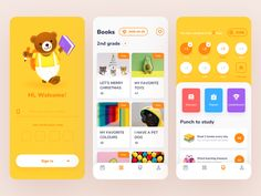 The first part of the ROSEN Learning Reader app by Tenney Tang on Dribbble User Experience Design, Customer Experience, Ui Design Inspiration, User Interface Design, App Design, Design Layouts, Dashboard Design, Mobile Design, Flat Design