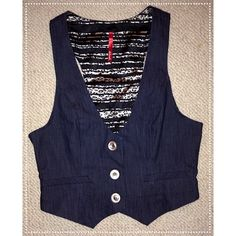 Navy Blue Vest! Navy blue vest - perfect for anyone looking to add a little style to their outfits! It's a size small and it's made of 97% cotton and 3% spandex. It's in perfect condition! Tops Button Down Shirts