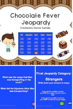 This game is a perfect way to review concepts and ideas from The Chocolate Fever by Robert Kimmel Smith. Jeopardy categories are Plot, Characters, Cure, Fever, and Chocolate. Divide your class into teams or challenge your class to play other classes.  This download includes the questions for all point values, Final Jeopardy question, Final Jeopardy answer and Tips for Playing Jeopardy Games. Answer slides are provided for each question.