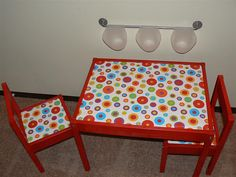 CC table idea.     - Need storage (maybe a bucket on rails attached under?)  -  Color?   -  Uses wrapping paper and contact paper. Laminate fabric instead? (joannes?)