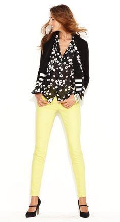 Yellow jeans, black/white dot shirt, black/white stripe cardi, black heels----casual chic!