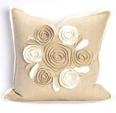 Daniel Stuart Studio - Gallery - Rose Pillows - Churchill Linen col: Flax/Ivory