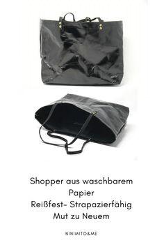 Shopper aus Papier. Klingt komsich - Hier handelt es sich um sogenanntes waschbares Papier, das sehr robust und wiederstandsfähig ist. Also eine sehr schönes Material für Tasche. Shopper, Material, Bags, Paper, Artificial Leather, Sachets, Totes, Nice Asses, Purses