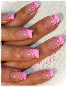 Pink french nails with art