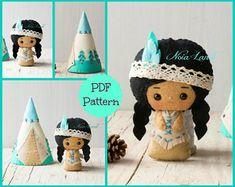 PDF. Native American and Tepee. Plush Doll Pattern, Softie Pattern, Soft felt Toy Pattern.