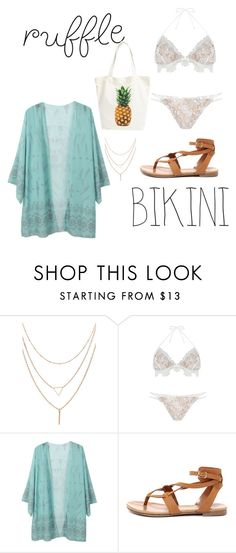 """Pineapple"" by cobicash10 ❤ liked on Polyvore featuring For Love & Lemons, Hotprint, Breckelle's, BP. and ruffledswimwear"