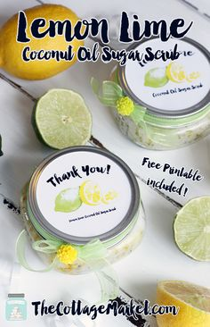 DIY Coconut Lemon Lime Sugar Scrub w/ Free Printables {Great Wedding Favor} - The Cottage Market