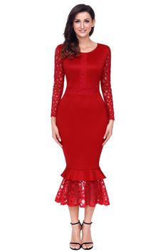 Try latest Chicloth Red Holl.... http://chicloth.com/products/chicloth-red-hollow-out-long-sleeve-lace-ruffle-bodycon-midi-dress?utm_campaign=social_autopilot&utm_source=pin&utm_medium=pin