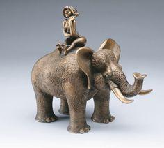 """Máté János: Aquamanile: """"Idefenn hűvösebb van"""" • 2007 bronz, viaszveszejtéses, 20×20×11 cm Lion Sculpture, Van, Statue, Vans, Sculptures, Sculpture, Vans Outfit"""
