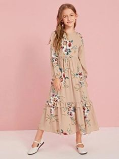 Girls Zipper Back Ruffle Hem Floral Dress Women Clothes For Cheap, Collections, Styles Perfectly Fit You, Never Miss It! Box Pleated Dress, Belted Dress, Striped Dress, Dress Out, Tee Dress, Little Girl Dresses, Girls Dresses, Dress Anak, Toddler Girl Outfits