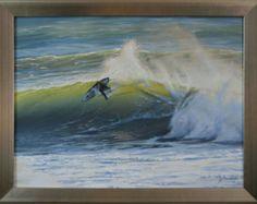 Peinture originale de Seascape 18 x 24 Surfer sur la toile par J. Mandrick