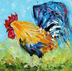 "Original oil palette knife painting ""Fancy ROOSTER"" by Karensfineart"