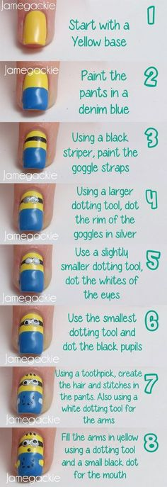 Minion nail art. That would be so cute on a toe this summer :)- check out www.ThePolishObsessed.com for more nail art ideas.