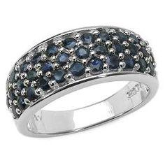 Malaika Sterling Silver Round-cut Blue Sapphire Ring