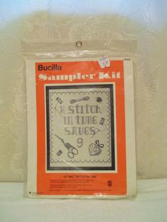 Vintage Sampler Kit, Cross Stitch Sampler, A Stitch In Time Saves 9, 1960's Sampler, Embroidery Kit, Bucilla 1980, Stamped Cross Stitch by LuckyPennyTrading on Etsy