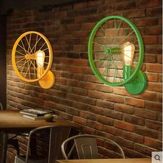 5 Colors Iron Bicycle Wheel Wall Lamp American Country Loft Style Wall Sconce Bedside Light Fixtures For Home Lighting Bar Cafe. Bicycle Decor, Bicycle Art, Bedside Lighting, Home Lighting, Recycled Furniture, Diy Furniture, Pimp Your Bike, Diy Luminaire, Applique