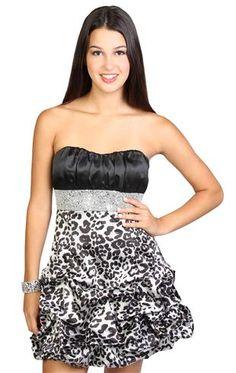 animal cheetah print beaded pick up junior homecoming dress
