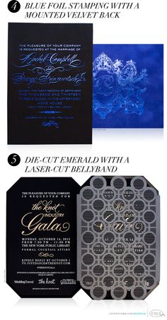 Black and Chic - Incorporate black paper into your Ceci New York invitations with these luxurious styles - 1. Blue and White Foil Stamping 2. Gold Foil on Black Velvet with a Metal Claspe 3. Custom Die-Cut Shape 4. Blue Foil Stamping with a Mounted Velvet Back 5. Die-cut Embrald with a Laser-cut Bellyband