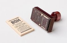 stamped wood business cards