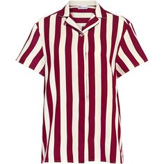 Red Valentino - Striped Bowling Shirt ($450) ❤ liked on Polyvore featuring tops, white boyfriend shirt, oversized striped shirt, oversized tops, boyfriend shirts and oversized white shirt