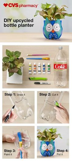 Bring spring indoors with this DIY upcycled plastic bottle planter. You need a clean empty bottle, a utility knife, some art supplies and a little imagination — the first 3 are all at CVS Pharmacy®! First, draw an animal outline onto the bottle. Plastic Bottle Planter, Reuse Plastic Bottles, Plastic Bottle Crafts, Diy Upcycled Bottles, Create An Animal, Diy Upcycling, Plant Markers, Ideias Diy, Bottle Painting