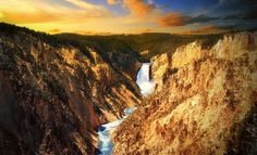 Yellowstone Falls – USA     Yellowstone Falls is located within Yellowstone National Park in Wyoming, USA. It is formed by two major waterfalls on the Yellowstone River – Upper Yellowstone and Lower Yellowstone – which both enter the famed Grand Canyon.