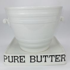 White Ware Banded Ironstone Pottery Milk Pail, marked Minton on base. C1900
