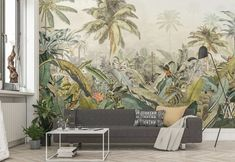 Hand-drawn flowers intertwine in black and white and bursts of color in this stunning mural. The beautifully intricate design turns a wall into a work of art. Flora wall mural comes on 4 panels. Casa Park, Decor Interior Design, Interior Decorating, Poster Xxl, Poster Mural, Magazine Deco, Casa Loft, Style Deco, Jungles