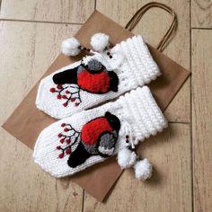"""Варежки, митенки, перчатки ручной работы. Ярмарка Мастеров - ручная работа. Купить Варежки """"снегири"""". Handmade. Варежки, снегирь"""