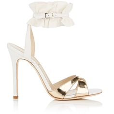 Alexander White Women's Ruffle-Trimmed Leather Sandals ($660) ❤ liked on Polyvore featuring shoes, sandals, leather strap sandals, ankle wrap sandals, strappy sandals, leather sole shoes and strappy high heel sandals