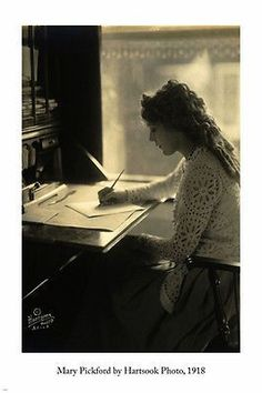 MARY PICKFORD arts poster HARTSOOK PHOTO 1918 24X36 famous ACTRESS writing