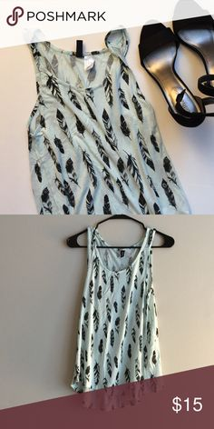 Nwot H& M tank top High low tank. Pretty blue and black color. Nwot Excellent condition. Bundle and save more. H&M Tops Tank Tops